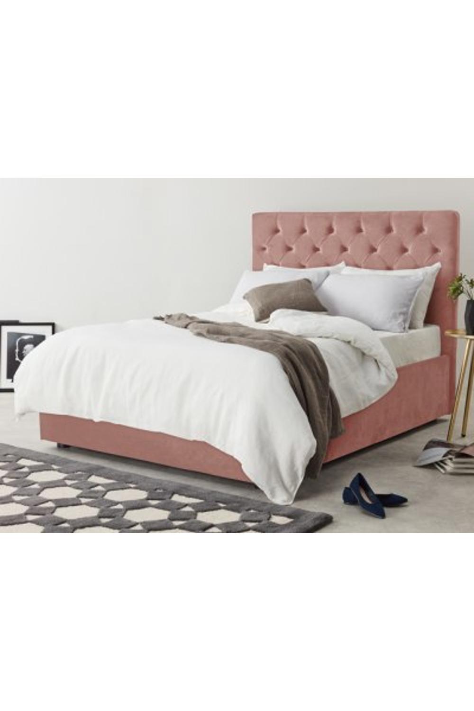 Skye King Size Bed With Storage Blush Pink Velvet Velvet
