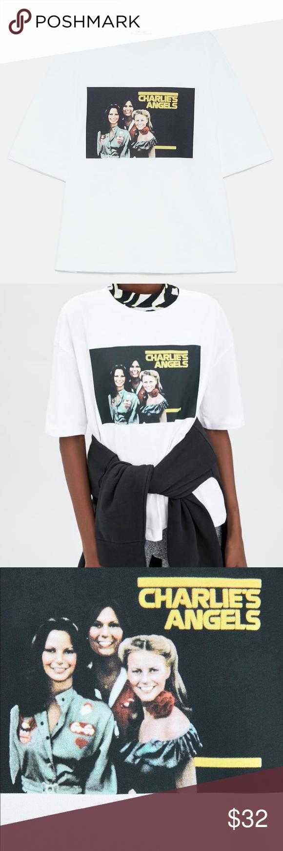 Zara Retro Charlie's Angels Graphic Tee, S (NWOT) NWOT Zara white 70s retro oversized t-shirt with C...
