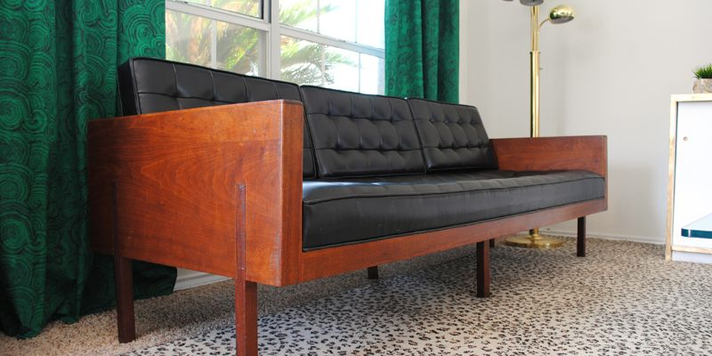Found: A Stunning Mid Century Modern Sofa With Tufted Black Vinyl And A  Gorgeous