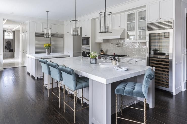 Brilliant Glam Kitchen Features A Gray Center Island Topped With A Alphanode Cool Chair Designs And Ideas Alphanodeonline