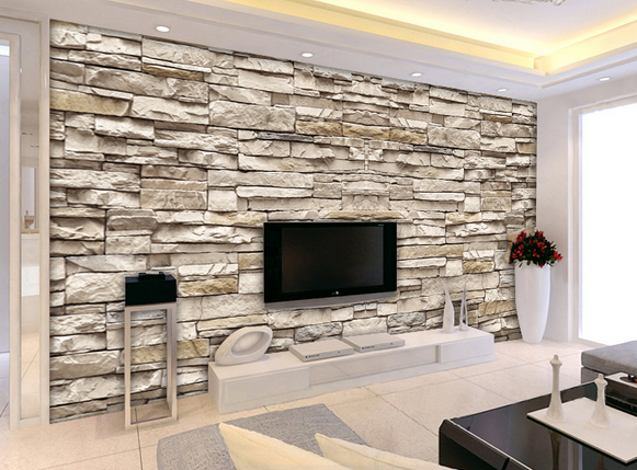 3d Effect Brick Stone Wallpaper For Interior Designs Stone Wall Interior Design Stone Walls Interior Living Room Design Modern