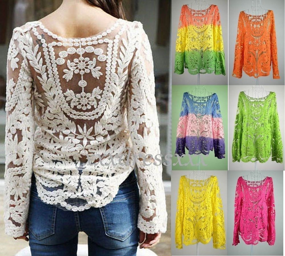 a1424d33af7ced Women Sexy Semi Sheer Embroidery Floral Lace Crochet Tee T-Shirt Top Blouse   AU