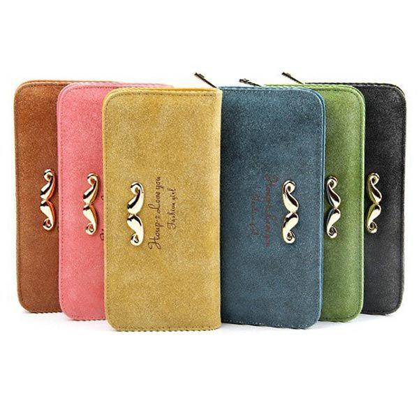 15 11 99 Cute Beard Letter Pattern Matte Leather Women Long Design Wallet