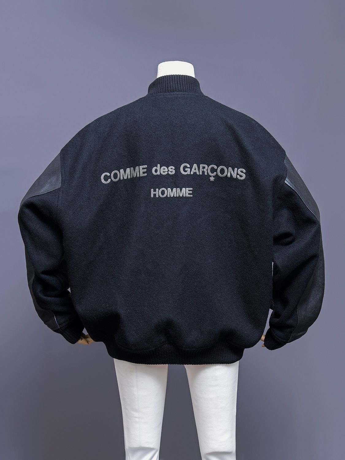 bff18531 Comme Des Garcons Homme oversized wool and leather bomber jacket ...