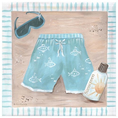 Beach Day Swimsuit Canvas Artwork in Blue from PoshTots