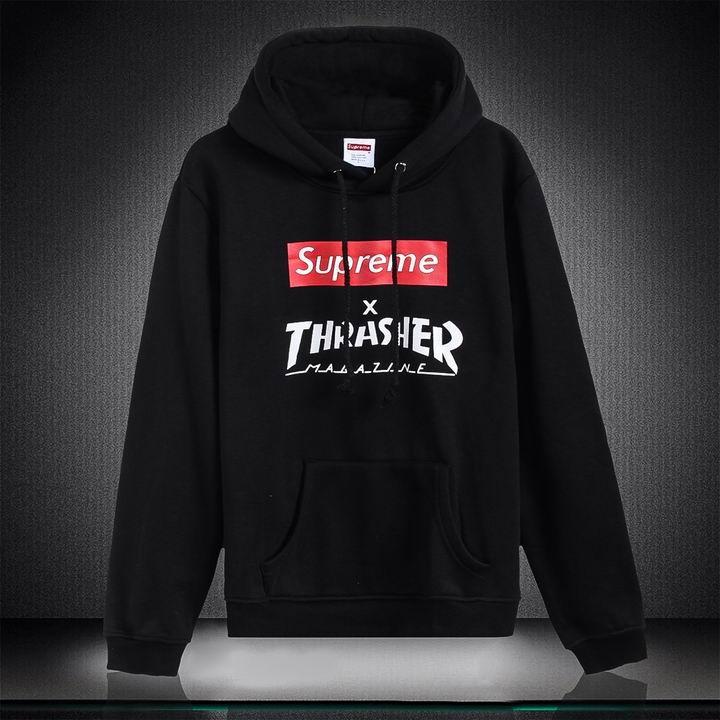 Supreme x Thrasher Fleece Hoodie Black Pullover Sweatshirt  aab0b606ad