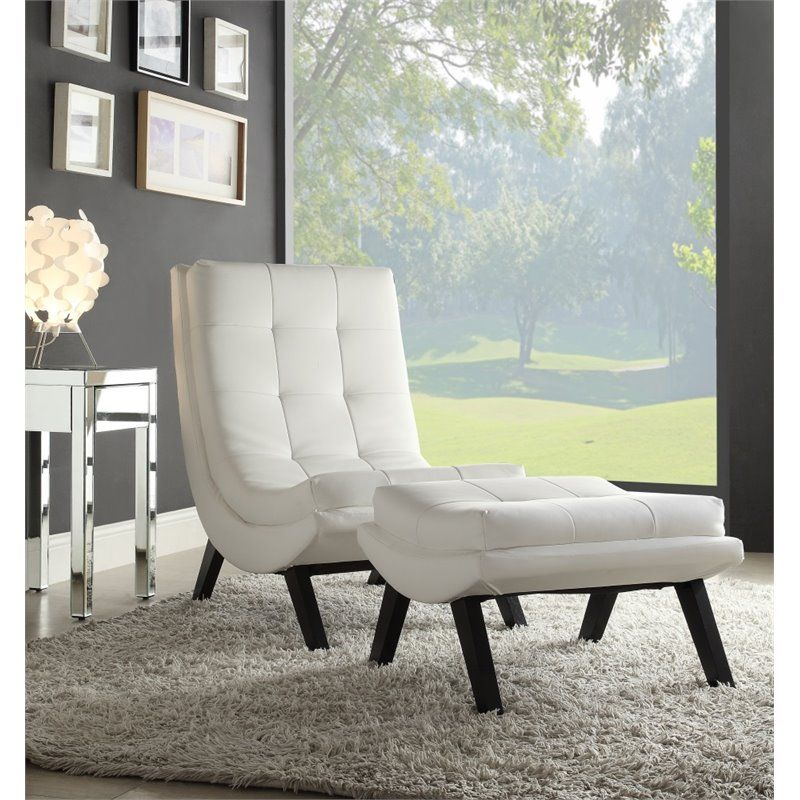Avenue Six Tustin Faux leather Lounge Chair and Ottoman Set in White