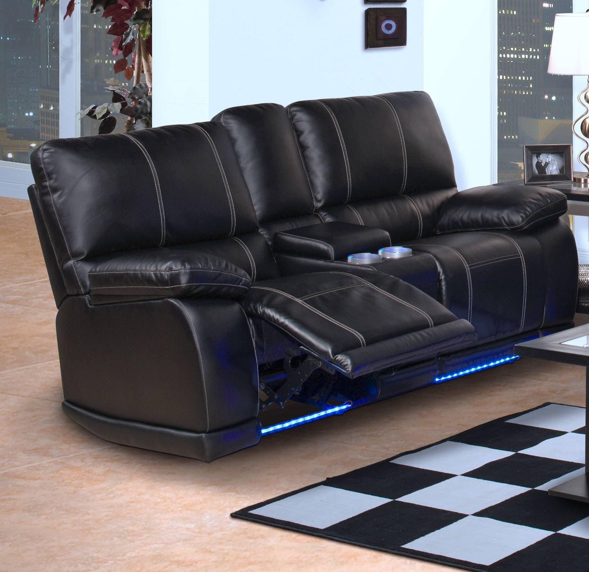 Electra Black Bonded Leather Hardwood Dual Recliner Console Loveseat