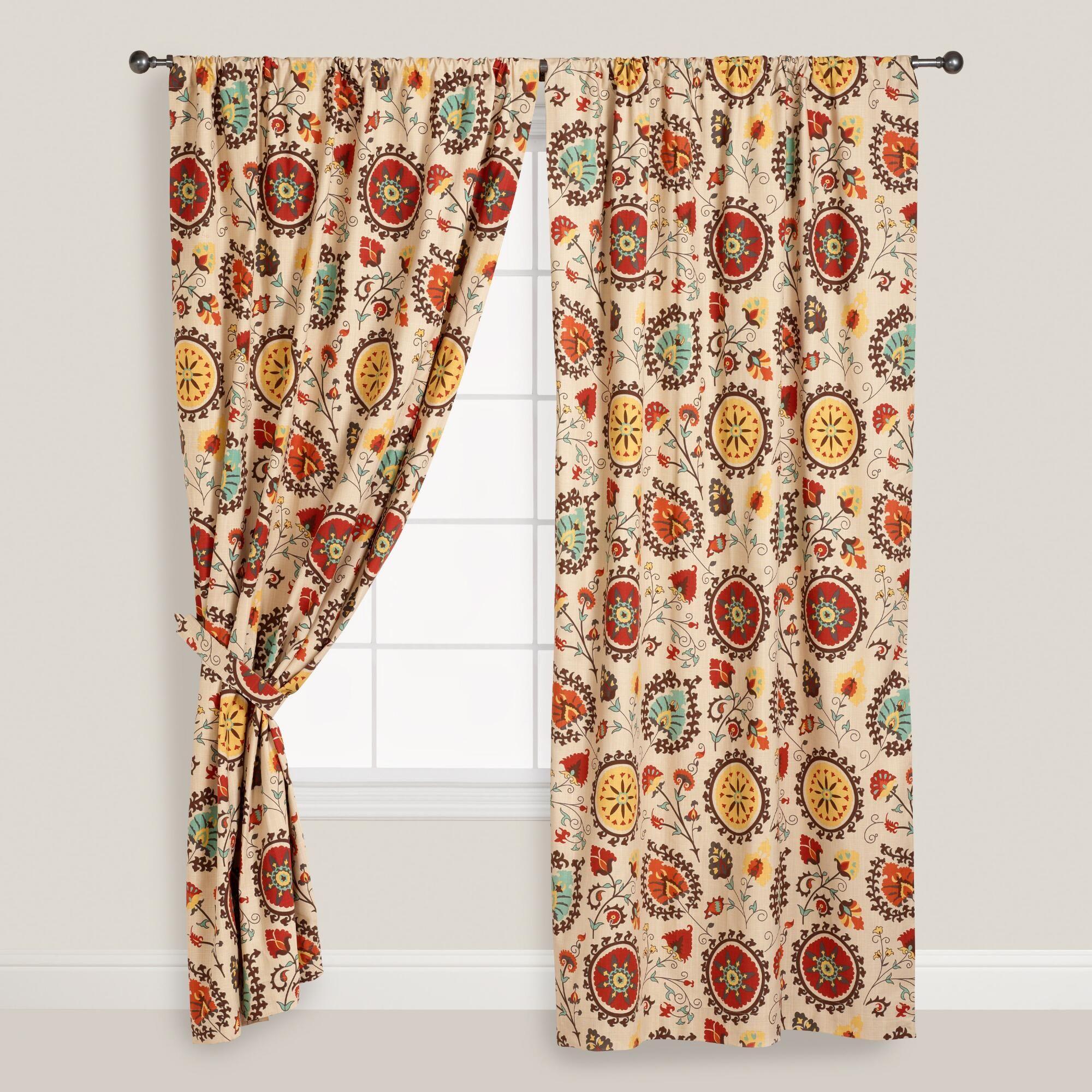 Gold And Red Suzani Cotton Curtains Set Of 2 Bunte Vorhange Vorhange Gardinen Nahen