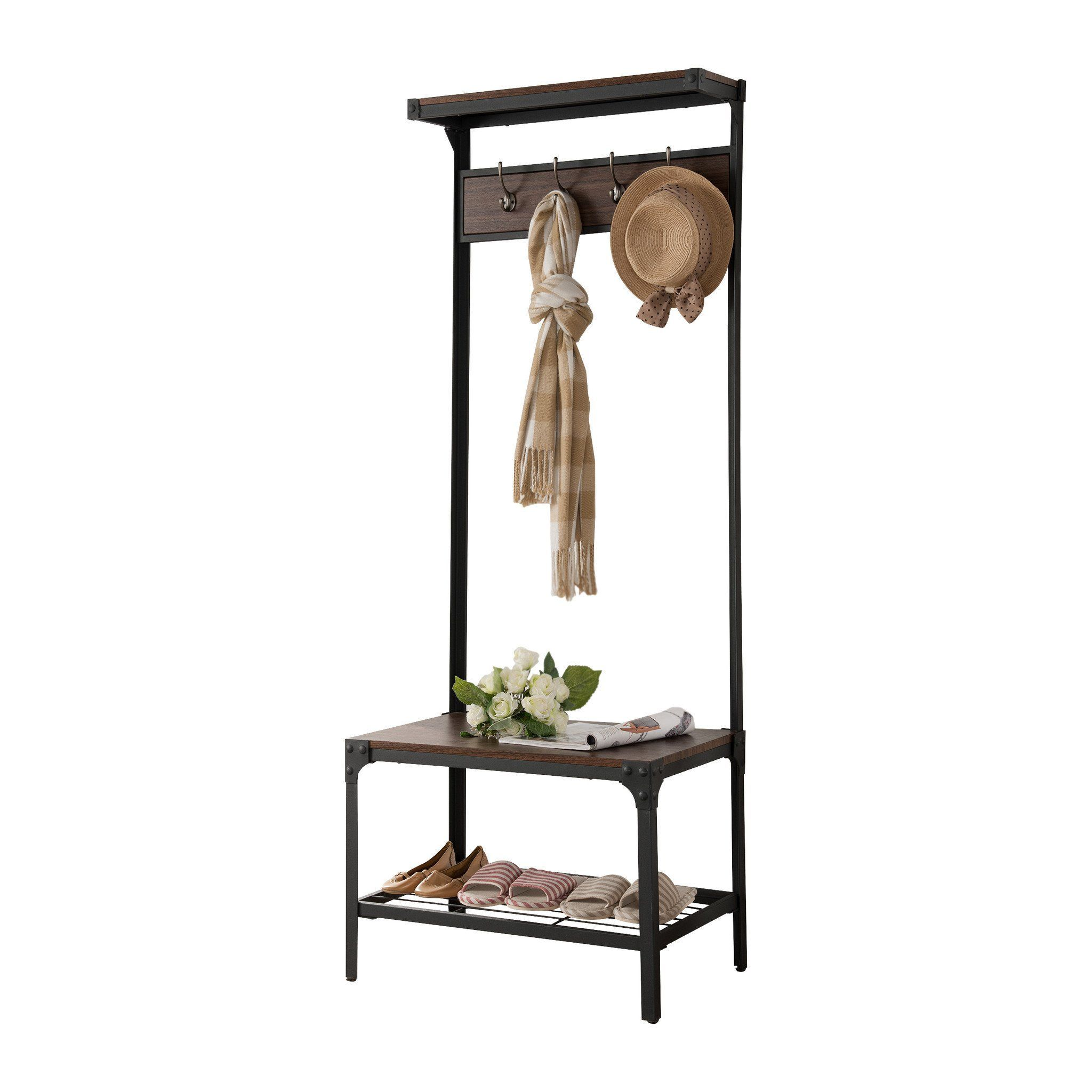 Walnut Wood & Black Metal Frame Contemporary Hallway Hall Tree