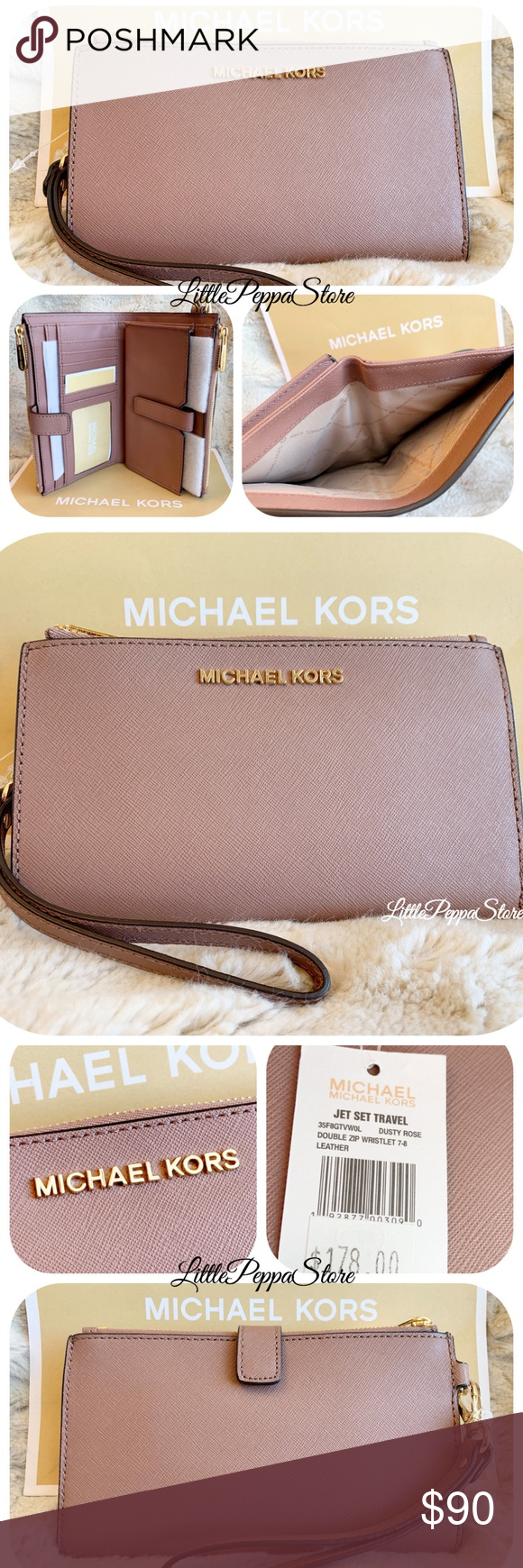 MICHAEL KORS DUSTY ROSE DOUBLE ZIP WALLET WRISTLET STYLE
