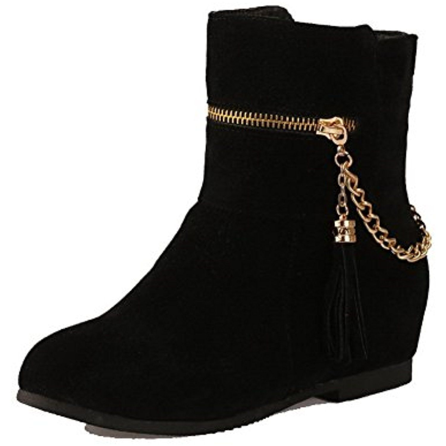 Women's Low-Top Solid Pull-On Round Closed Toe High-Heels Boots