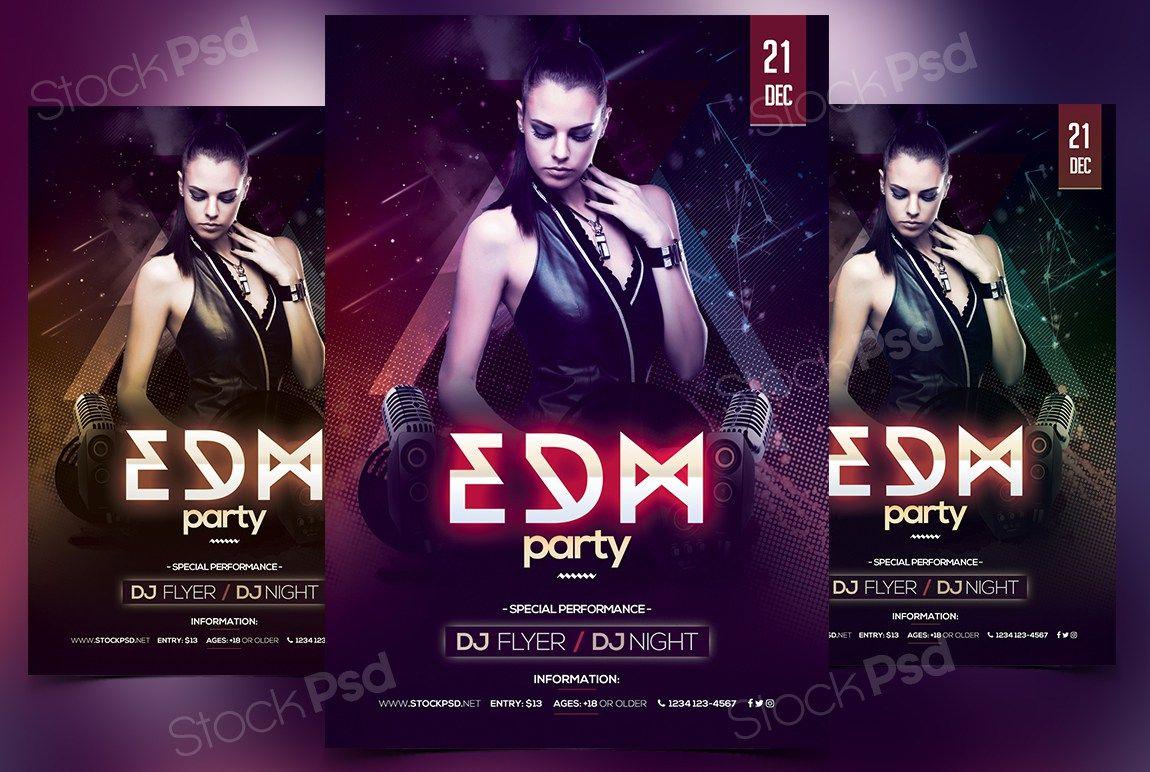 edm party free psd flyer template free psd flyers pinterest