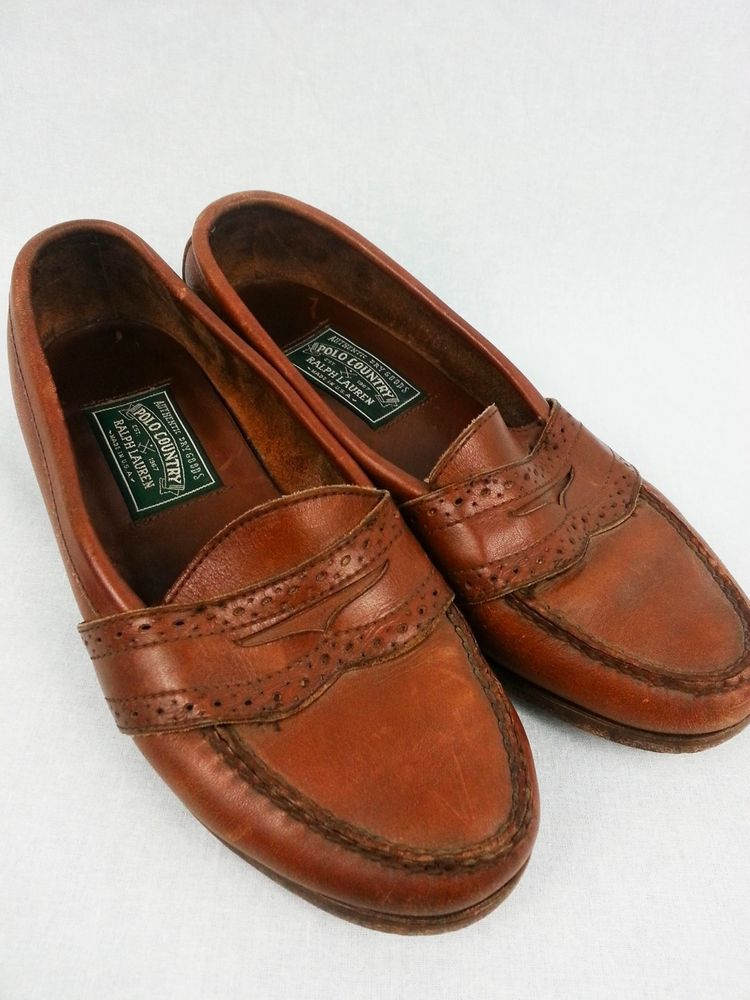RALPH LAUREN brown Leather Shoes Polo Country made in USA size 9 - 10  #RalphLauren