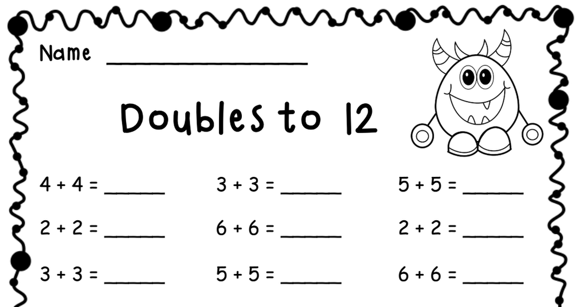 Doubles To 12 Pdf Preschool Worksheets Preschool Math Worksheets Free Math Worksheets