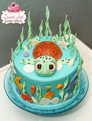 Sea Turtle Cake Google Search Turtle Birthday Cake Nemo Cake