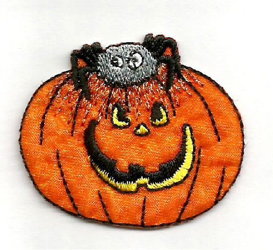 Small Halloween Two Pumpkins Jack O Lantern Iron on Applique//Embroidered Patch