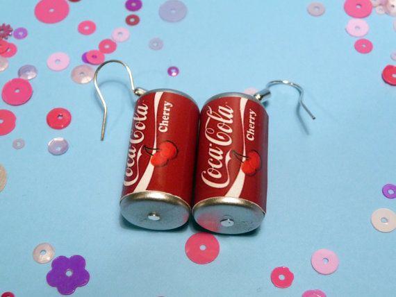 Cherry Coke Kawaii Soda Can Earrings by candycarouseljewels, £4.00