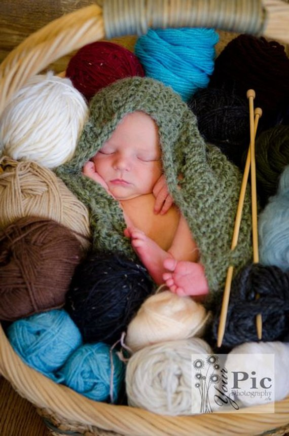Sage Green Lacy Baby Knit Cocoon Pod Photography Prop ...