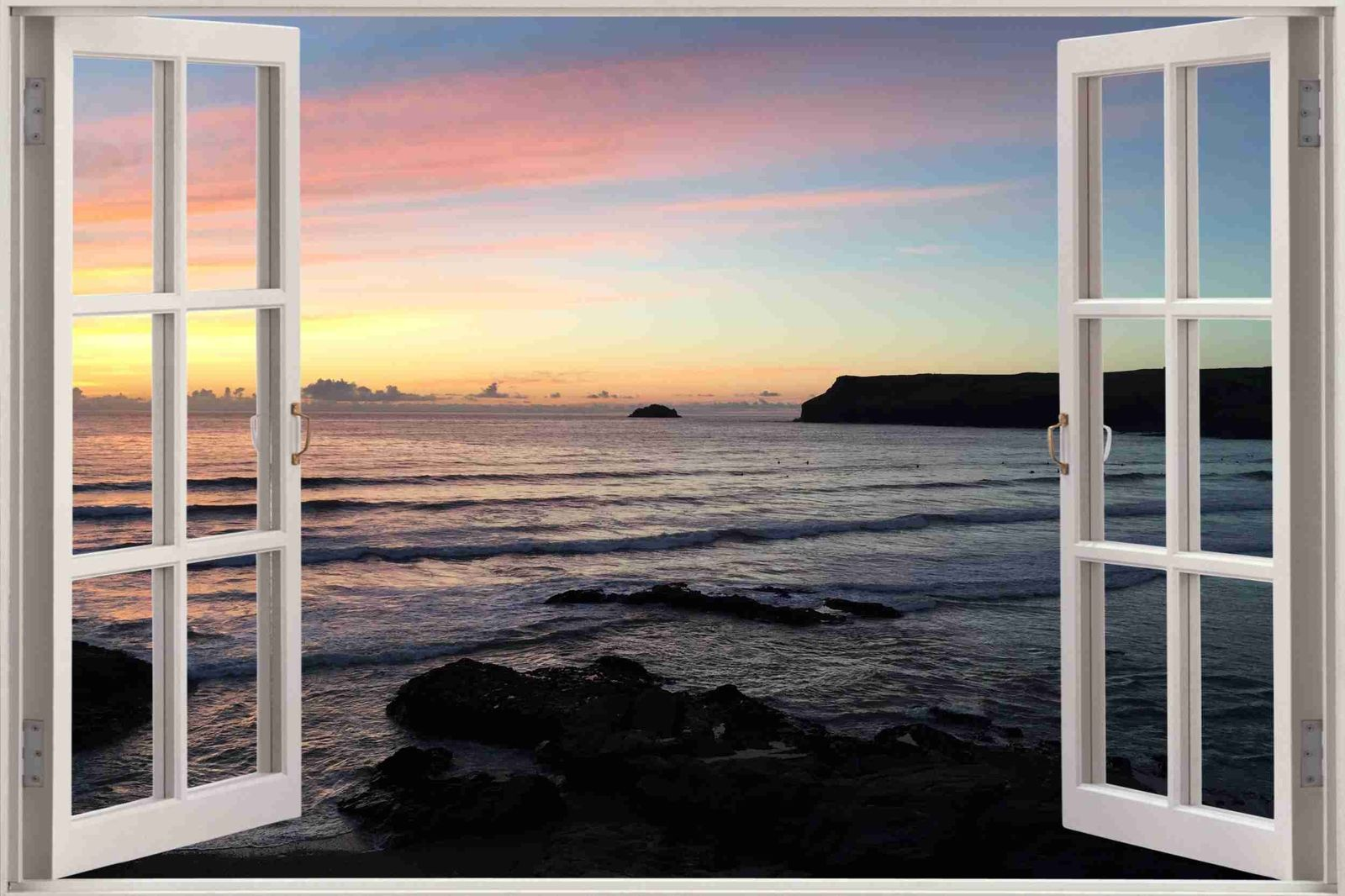 Huge 3D Window view Sunset Over Sea Wall Sticker Mural Art Decal Wallpaper 1146