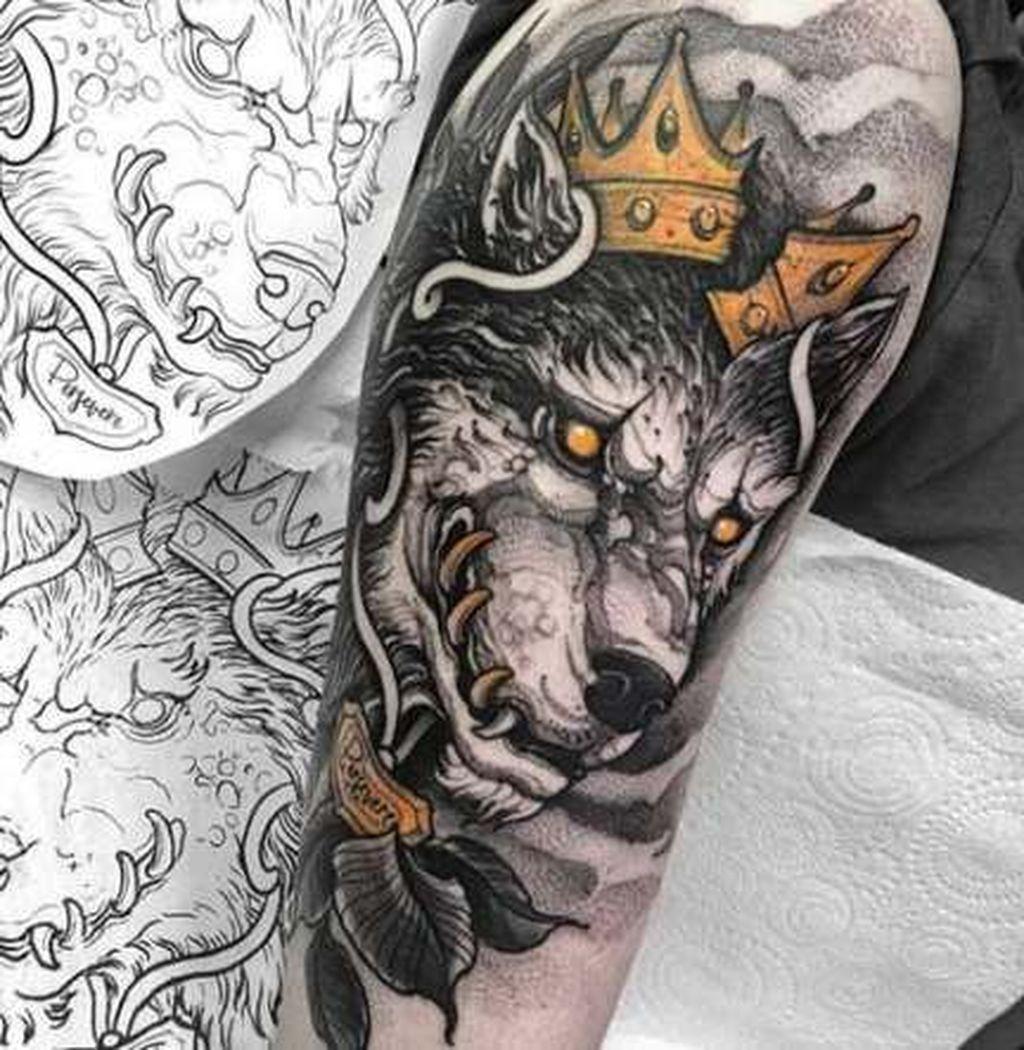 49 Gorgeous Arm Tattoo Design Ideas For Men That Looks Cool Addicfashion Cool Arm Tattoos Wolf Tattoo Design Tattoos For Guys
