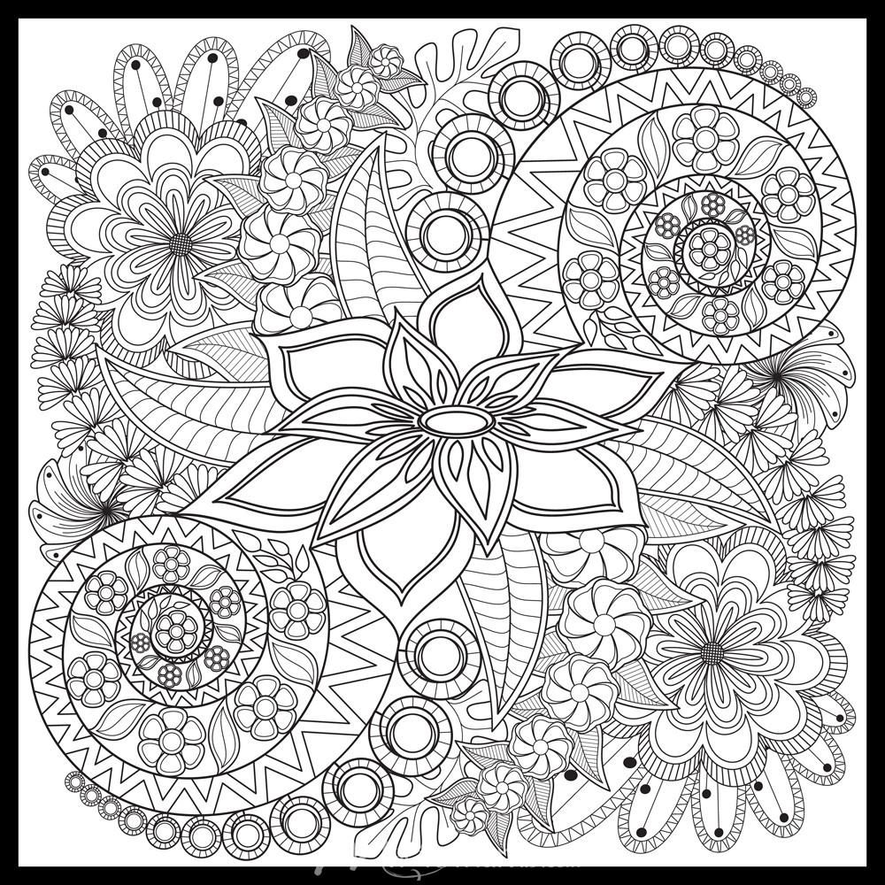 Spiral Flowers Colorme Wall Mural Mandala Coloring Pages Coloring Pages Pattern Coloring Pages