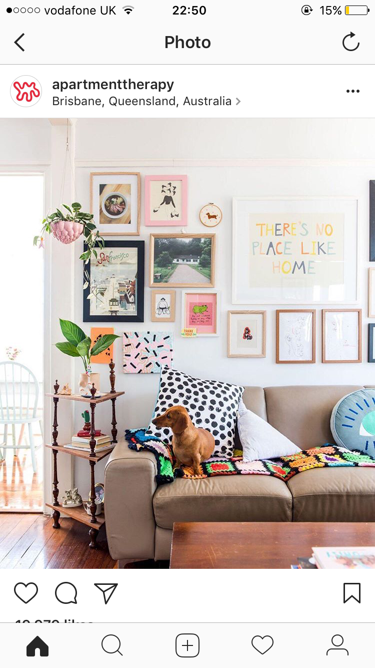love the fun gallery wall and the colors | Homes | Pinterest ...