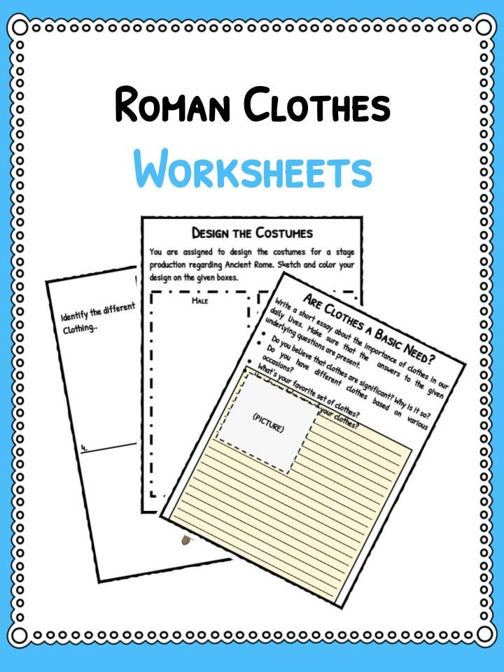 Ancient Roman Clothing facts & worksheets. Includes lesson