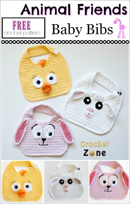 Free Crochet Pattern: Animal Friends Bibs - Crochet Zone ...