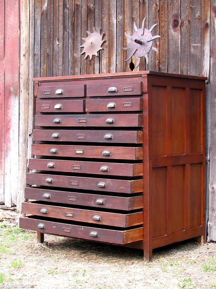 Ordinaire Antique Industrial Wooden 12 Drawer Map Cabinet Flat File Orig Cast Brass  Pulls