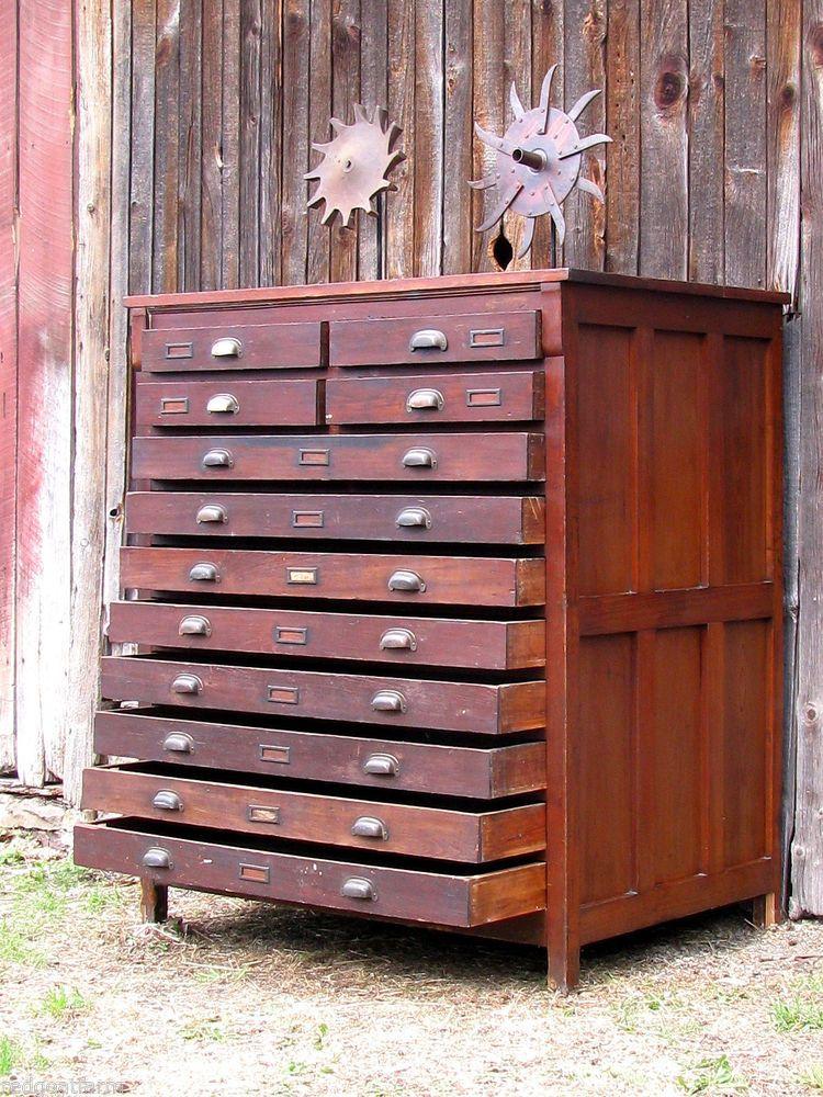 Antique Industrial Wooden 12 Drawer Map Cabinet Flat File Orig Cast Brass Pulls