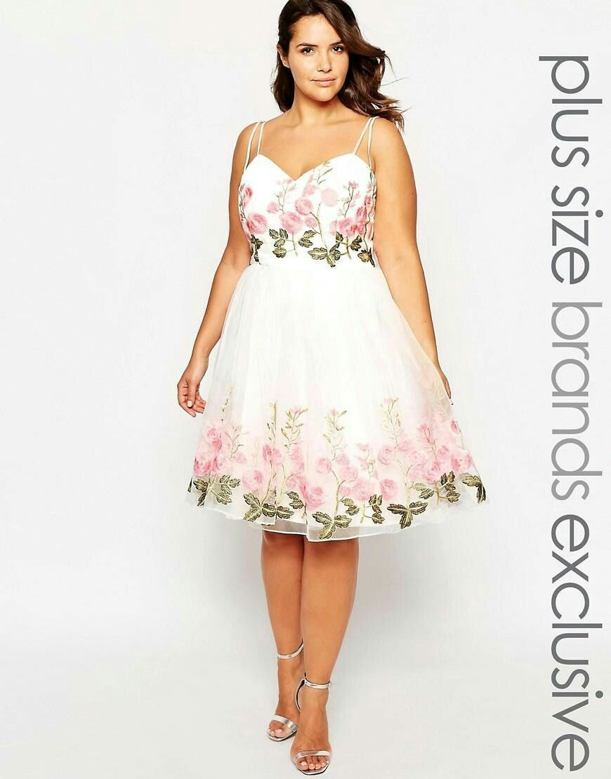 Chi Chi London Plus Floral Embroidered Prom Dress asos.com