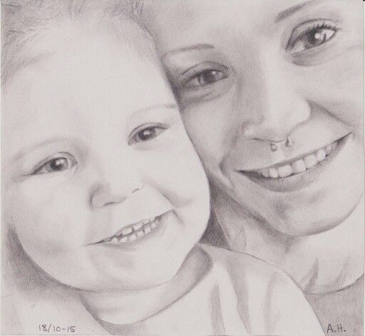 Pencil drawing - mother and daughter