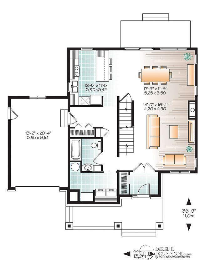 Plan de Rez-de-chaussée Maison à étage moderne avec 4 chambres, 3 - Plan Maison Moderne  Chambres