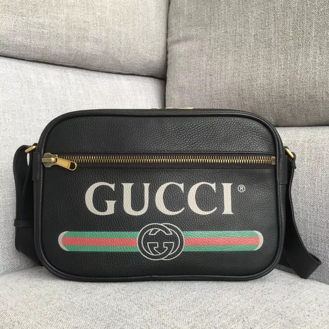 53a0cfc21 Gucci Leather Print Shoulder Bag 523589 Black 2018 | Bags | Gucci ...