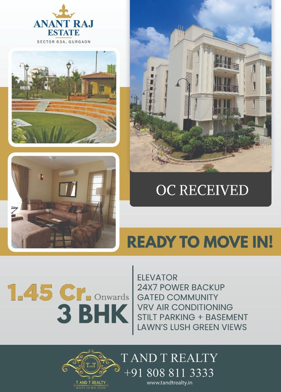 3 Bhk Builder Floors Ready To Move In Readytomovein Anantrajestate Estatefloors Builderfloors Sector63a Gurgaon B Power Backup Realty