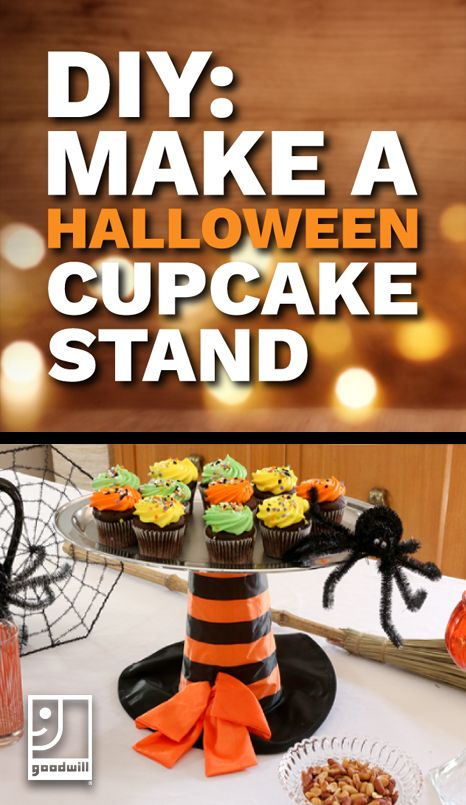 DIY Halloween Cupcake Stand -♥- Halloween How-To\u0027s - decorating for halloween party