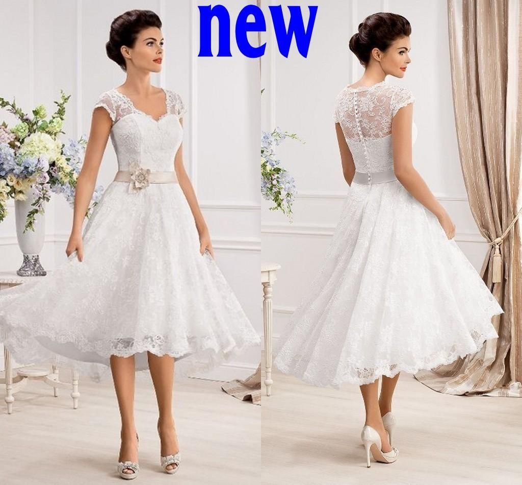 Plus size lace wedding dresses short cheap 2015 new cheap for Cheap wedding dresses tea length