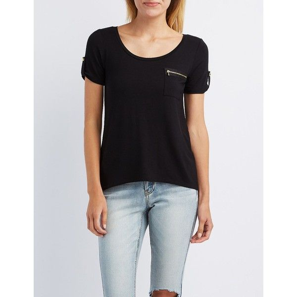 264ae928630 Charlotte Russe Scoop Neck Zip-Pocket Tee ( 15) ❤ liked on Polyvore  featuring tops