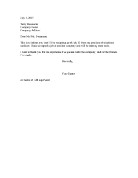 This Resignation Letter Notifies An Employer That You Have