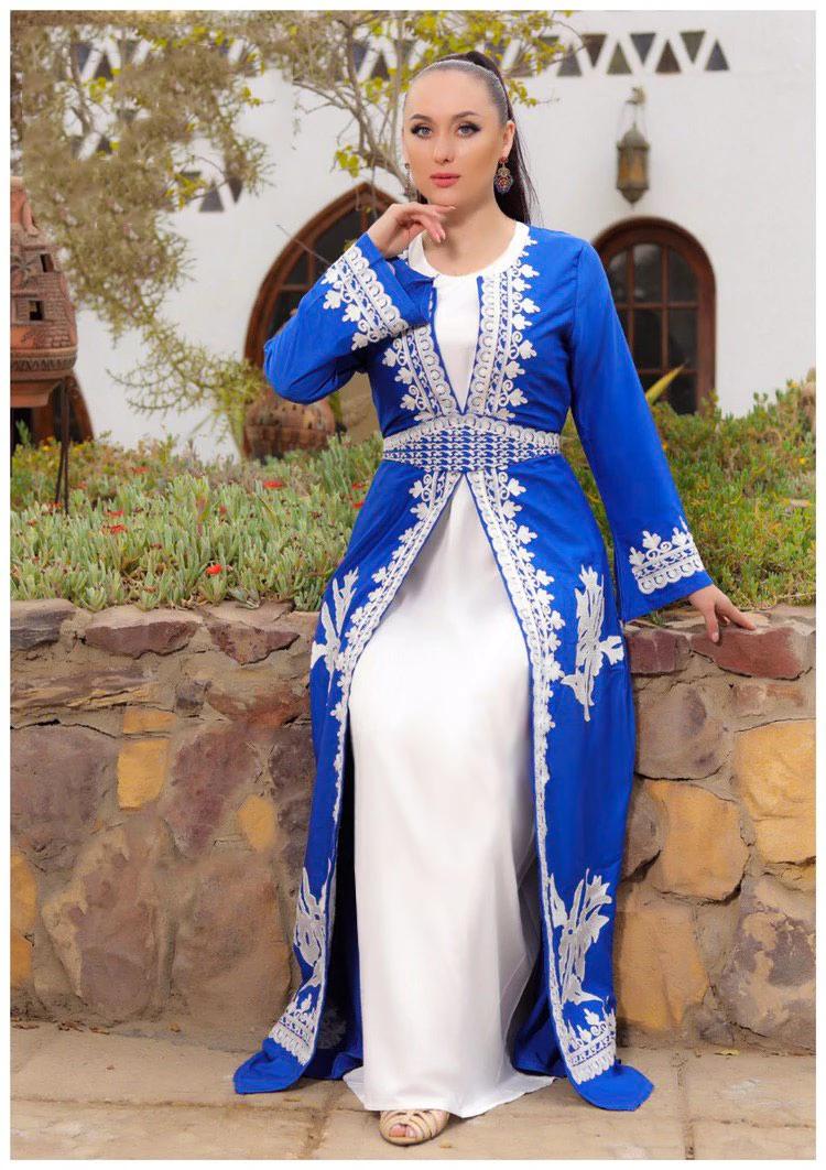 قفطان مغربي لون أزرق كود 94 جلابية نسائية ملابس نسائية متجر الملكة Fashion Saree Sari