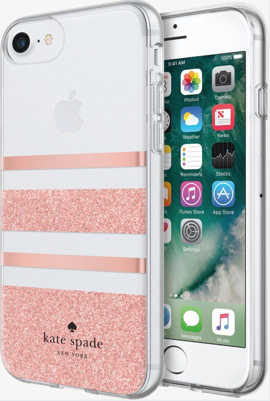 best service fa032 03dc8 Kate Spade Flexible Hardshell Case for iPhone 7& 8 Charlotte Stripe ...