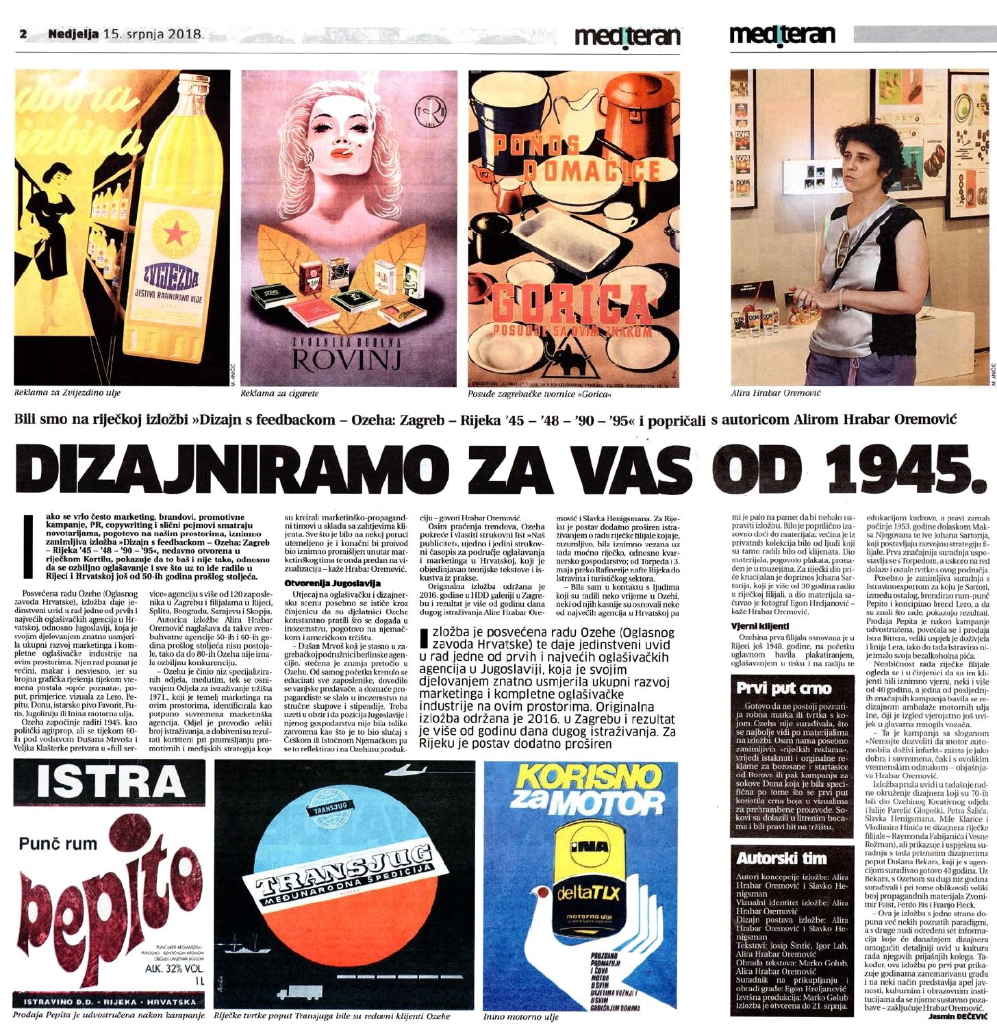 News Article About The Exhibition Design With Feedback Ozeha Advertising Agency Zagreb Rijeka 2018 F Advertising Material Advertising Agency Rijeka