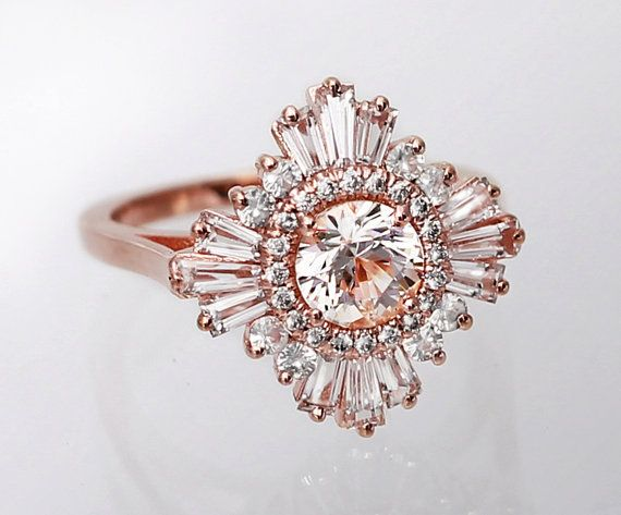 Mid Gatsby Ring Art Deco Engagement Custom Made Vintage Anniversary White Sapphires Diamonds Moissanite Morganite Black Diamonds Art Deco Engagement Ring White Sapphire Engagement Ring Deco Engagement Ring