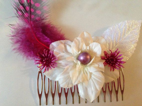 Flower Hair Comb Pink and White Hair Accessory by BlissfulPetals, $12.00 #etsybot2 #shopetsy
