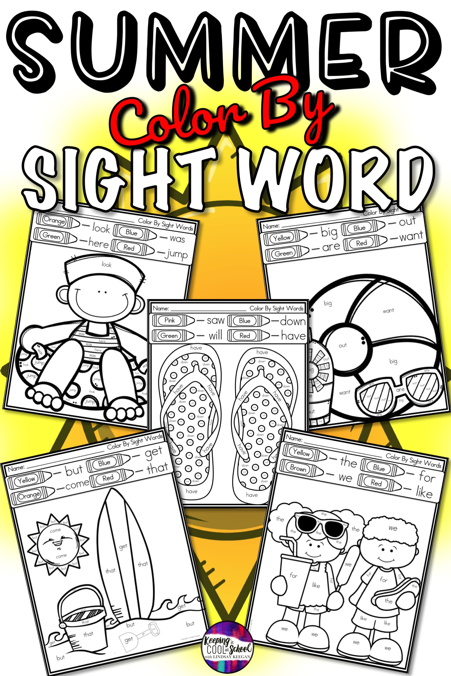 Color By Sight Word Worksheets