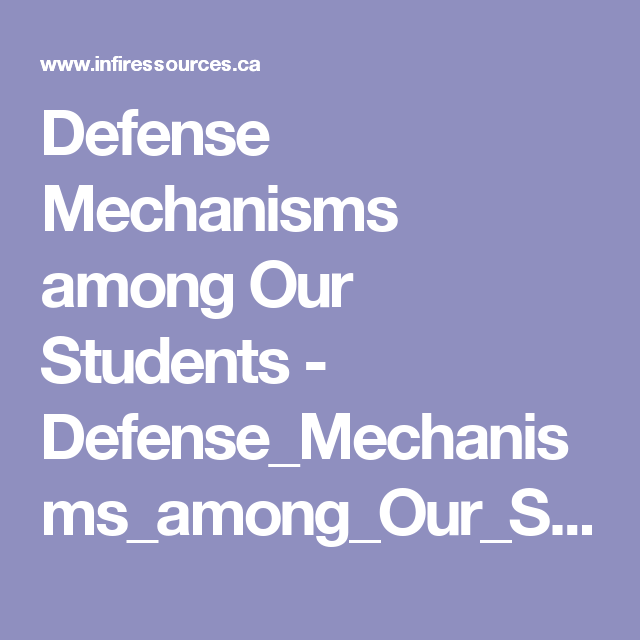 Defense Mechanisms Among Our Students