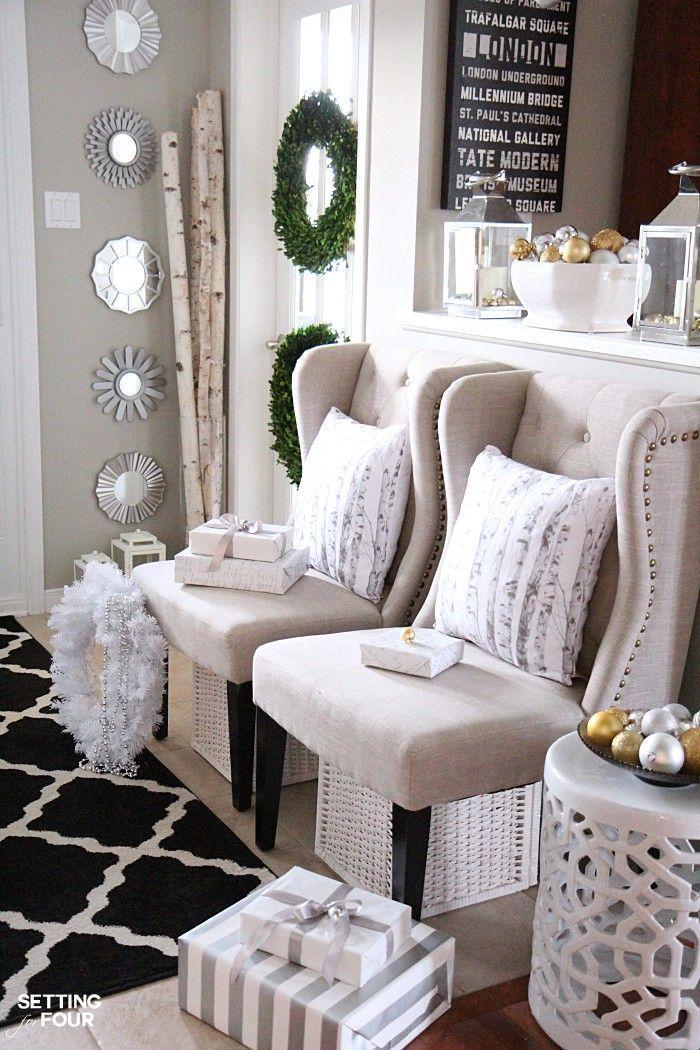 Elegant and Neutral Christmas Foyer Elegant and