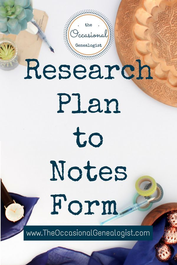 Genealogy Research Plan to Notes Form Pinterest - research plan template