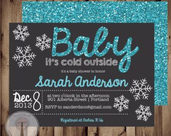 Christmas Or Winter Baby Shower Invitation Baby By T3DesignsCo